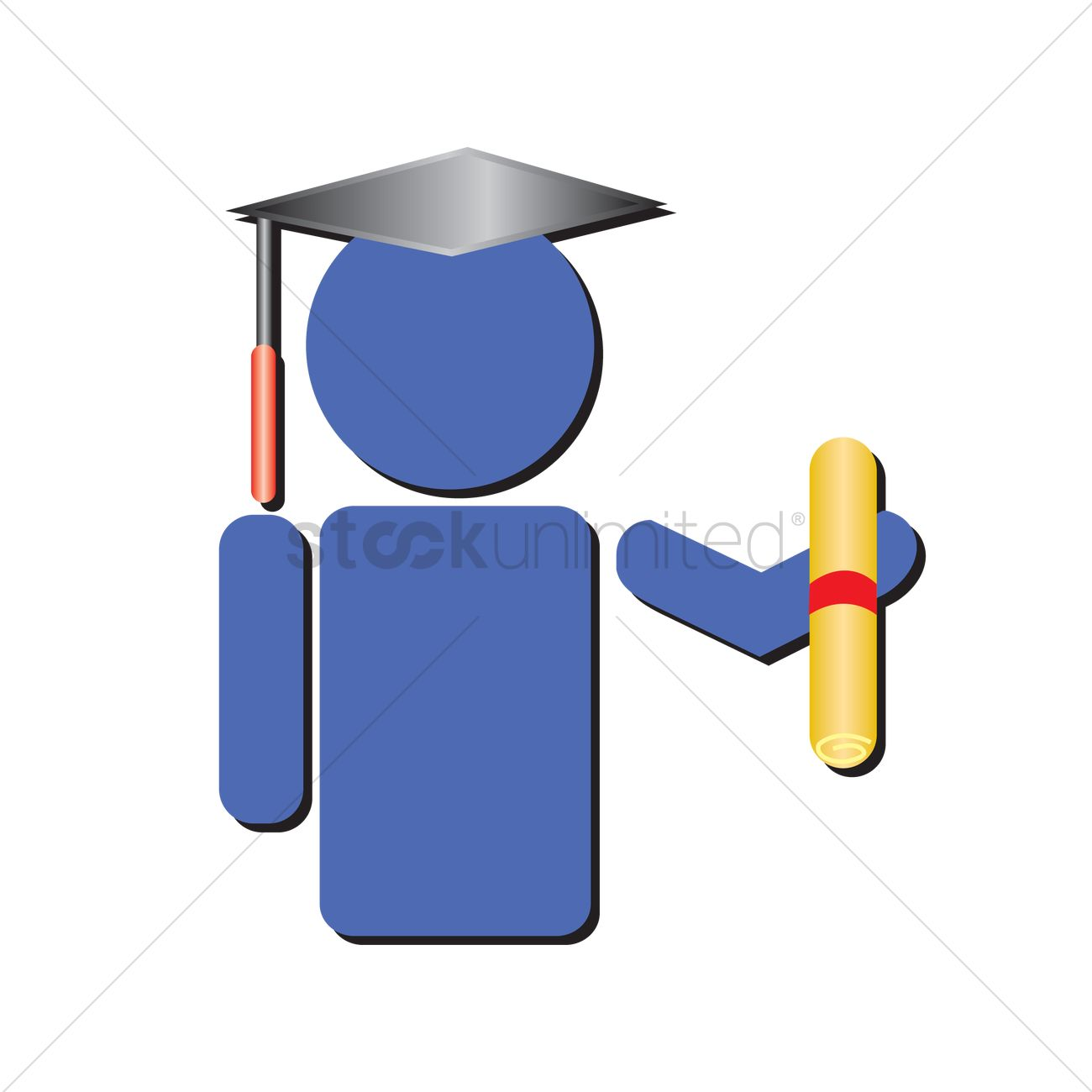 1300x1300 Free Human icon with graduation hat and scroll Vector Image