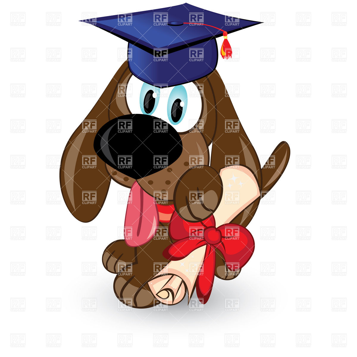 1200x1200 Cartoon dog with graduation cap and diploma Royalty Free Vector