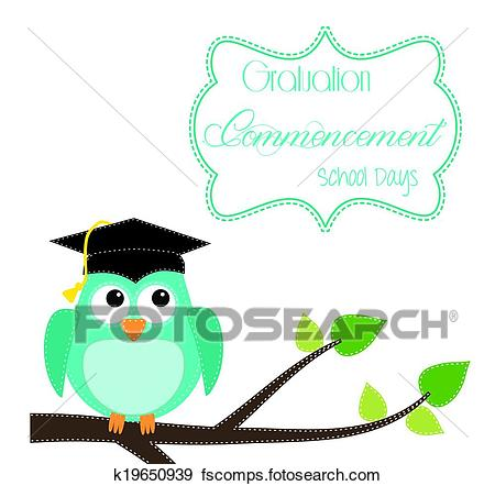 450x442 Clip Art of Owl with graduation cap sitting on branch k19650939