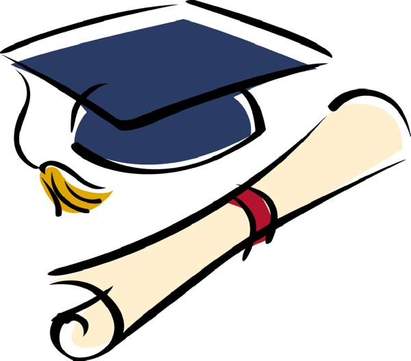 600x527 Graduation cap and diploma clipart