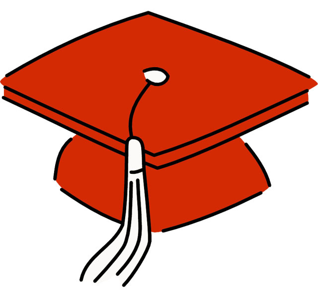 640x602 Red graduation cap clipart kid 3