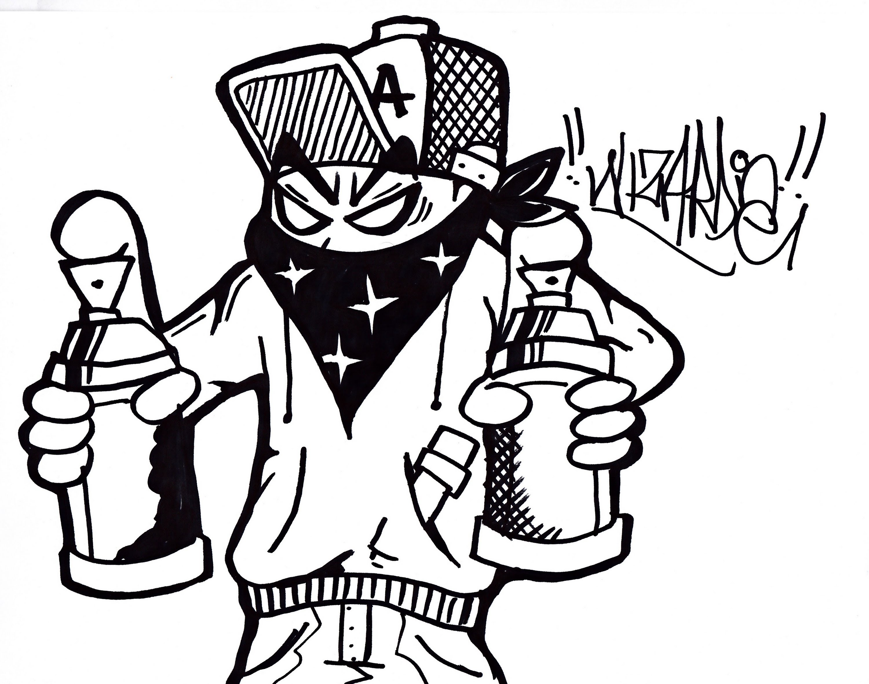 3000x2363 Drawn Graffiti Gangster