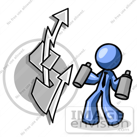 450x450 Clip Art Graphic Of A Blue Guy Character Spray Painting Graffiti