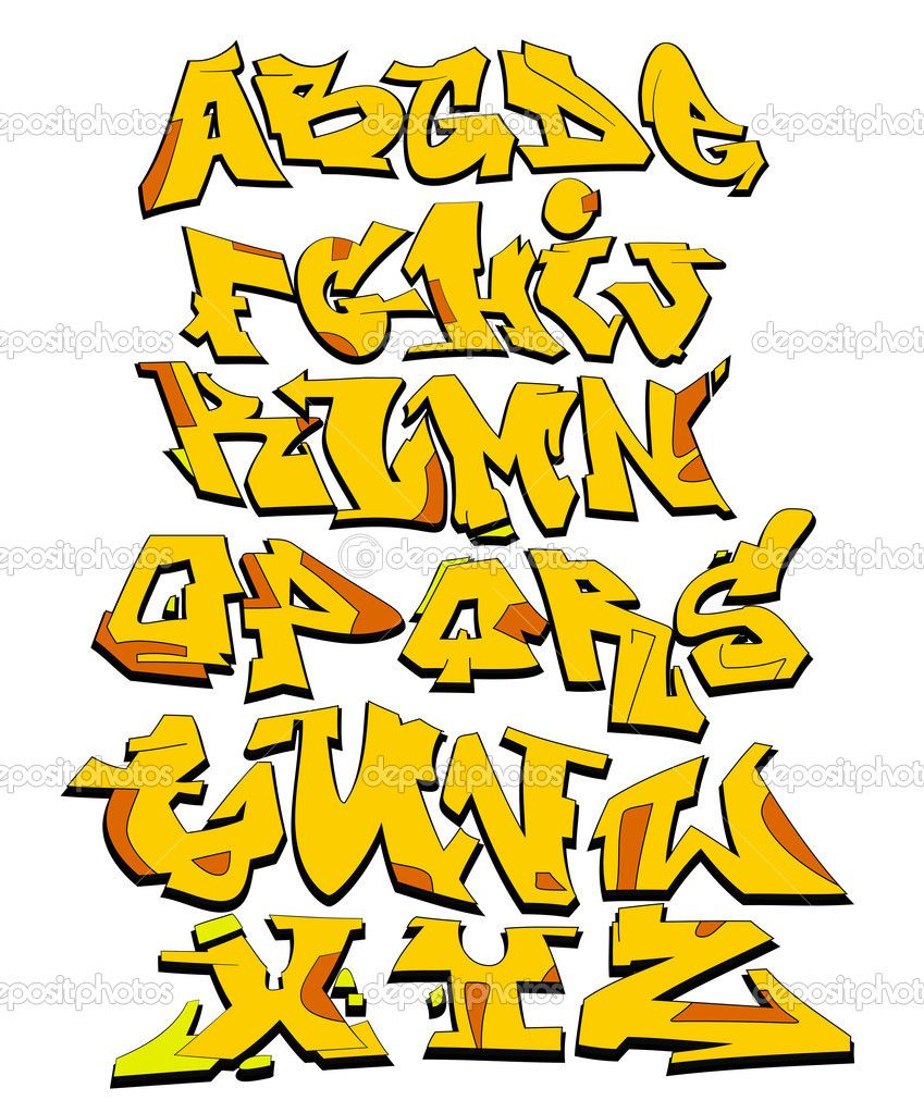 849x1023 graffiti font alphabet vector art design stock vector sergey