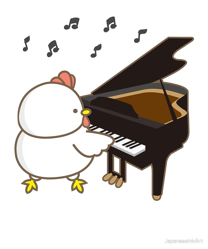 833x1000 Funny Chicken Piano Emoji Cartoon Instrument Art By