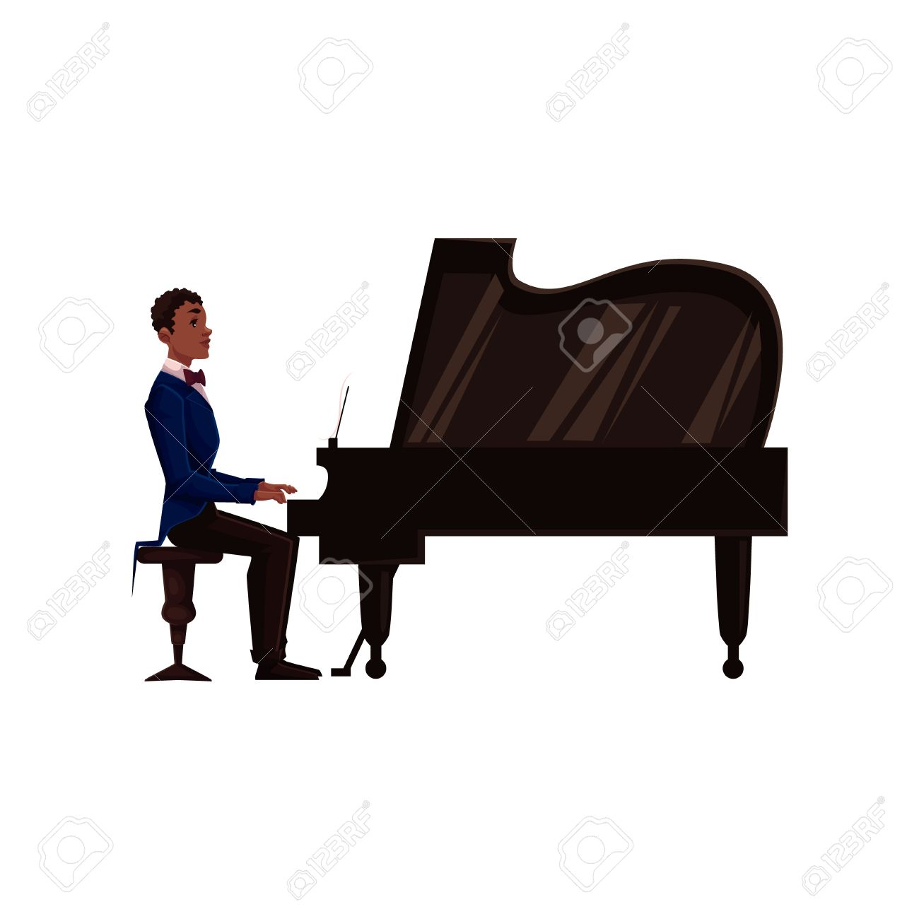 1300x1300 Young African American Male Piano Player, Cartoon Vector