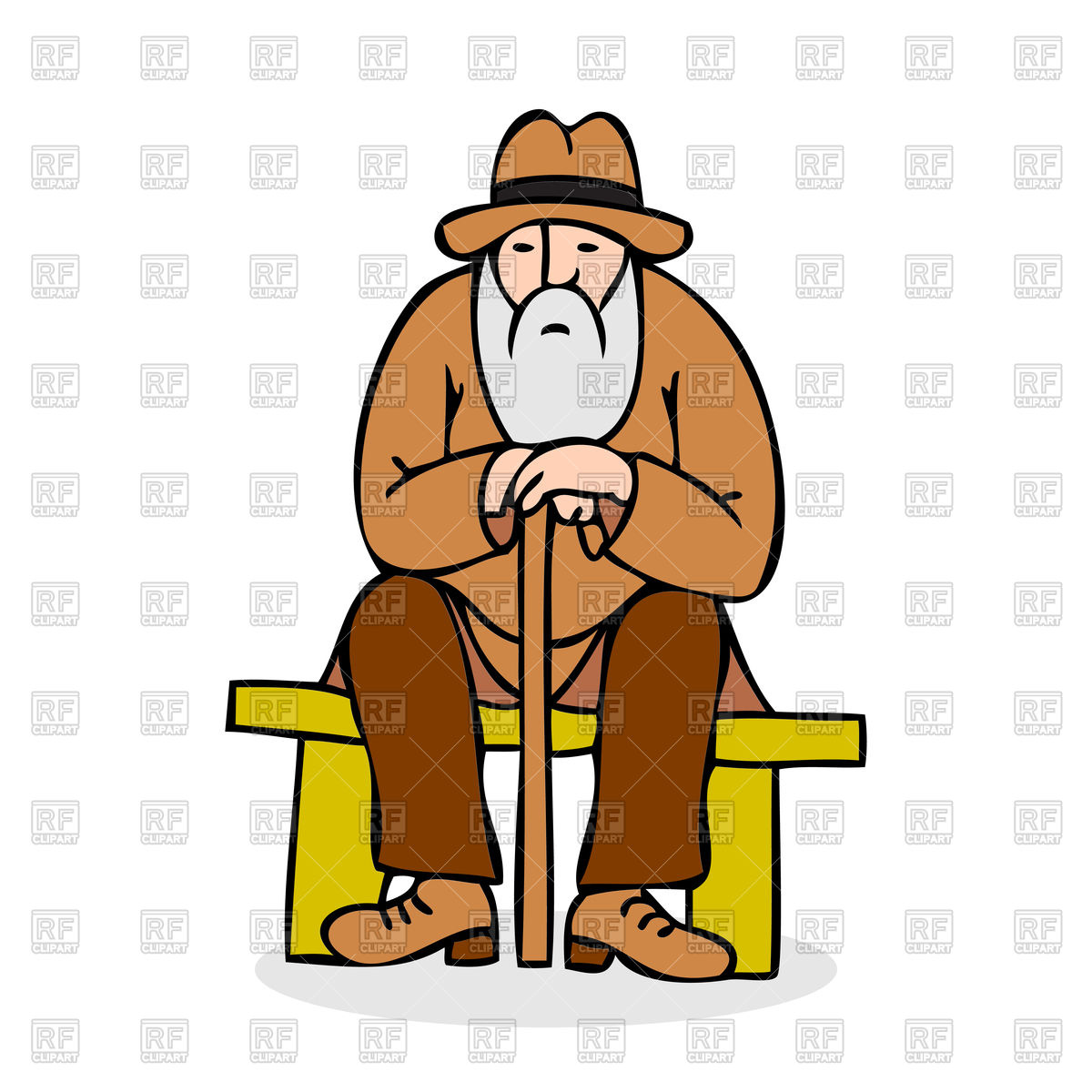 1200x1200 Funny Grandfather With A Long Beard Sitting On A Bench Royalty
