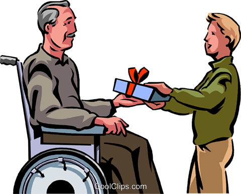480x387 Grandson Giving His Grandfather A Gift Royalty Free Vector Clip