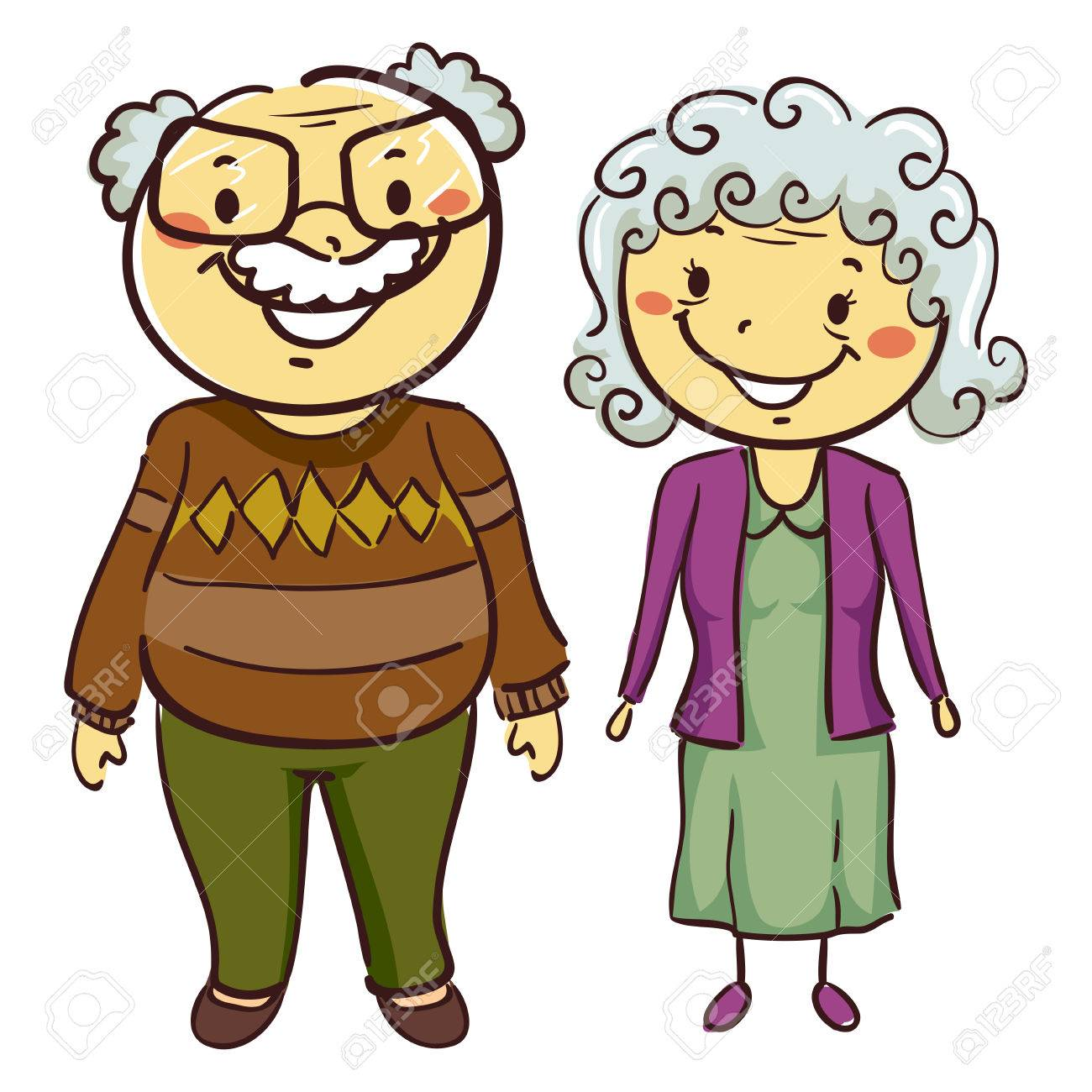 1300x1300 Vector Illustration Of Grandmother And Grandfather Royalty Free