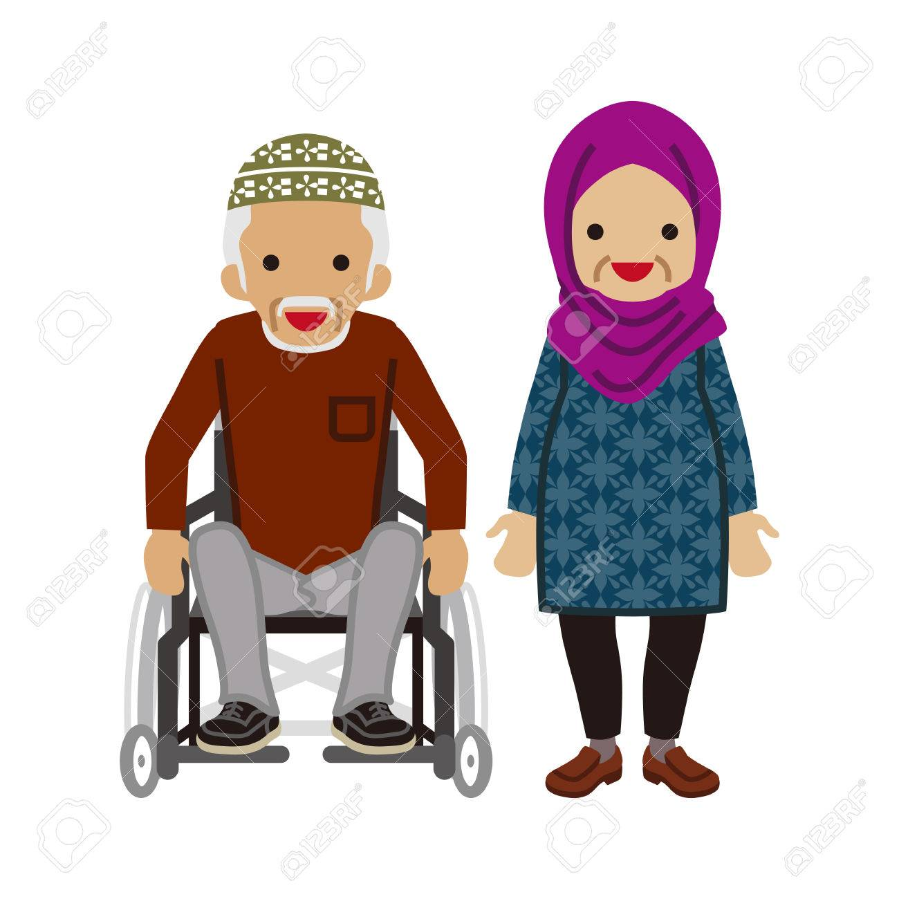 1300x1300 Senior Couple Muslim, Wheelchair Grandpa Royalty Free Cliparts