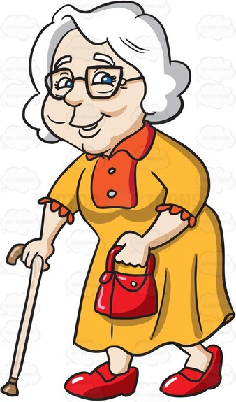 338x575 A Charming Grandmother Going Out For A Walk Grandmothers