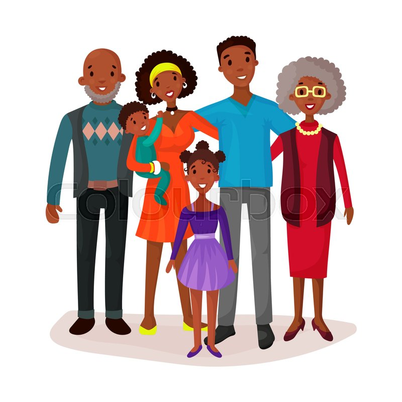 800x800 Afro American Or Black Happy Cartoon Family With Mother