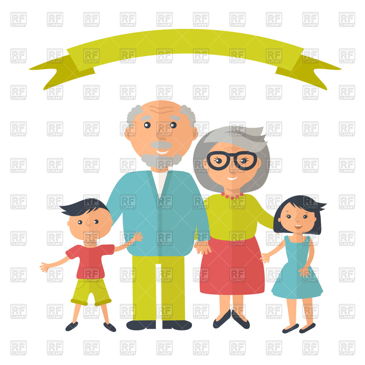 1200x1200 Senior Grandparents With Their Grandchilds Royalty Free Vector