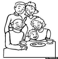 236x240 Family With Grandparents Clipart Black And White