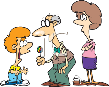 350x280 Royalty Free Clipart Image Of A Man Giving A Boy A Lollipop