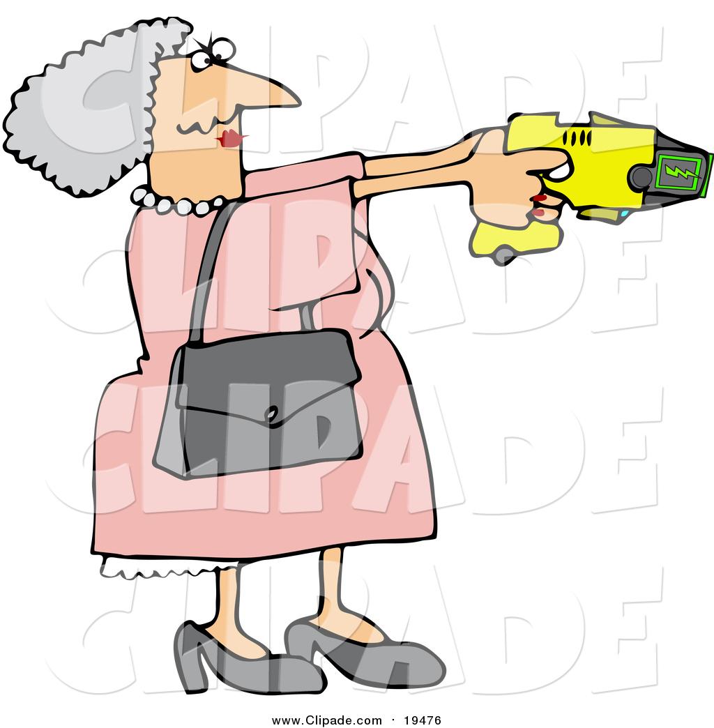 1024x1044 Clip Art Of A Caucasian Granny Defending Herself With A Taser Gun