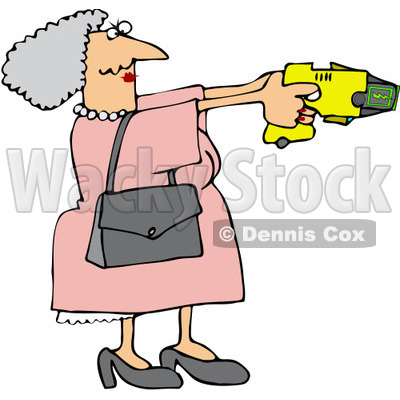 400x400 Free (Rf) Clip Art Illustration Of A Granny Defending Herself