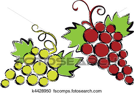 450x315 Clipart Of Red And Green Grapes With Vine Leav K4428950