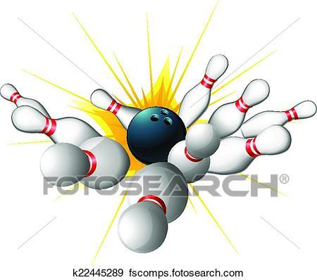 450x398 Clip Art Of Bowling Ball Strike K22445289