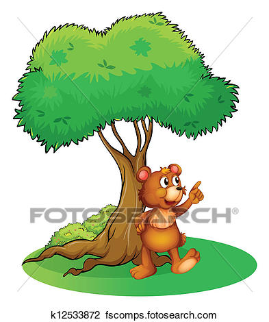 393x470 Clipart Of A Wild Animal Under A Tree K12533872