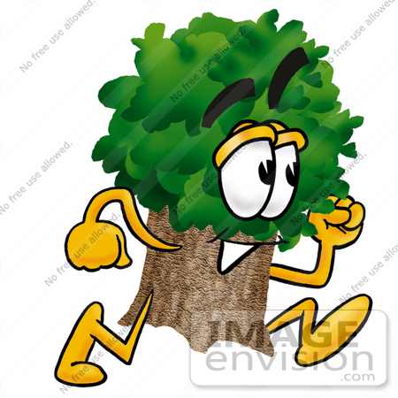 450x450 Clip Art Graphic Of A Tree Character Running