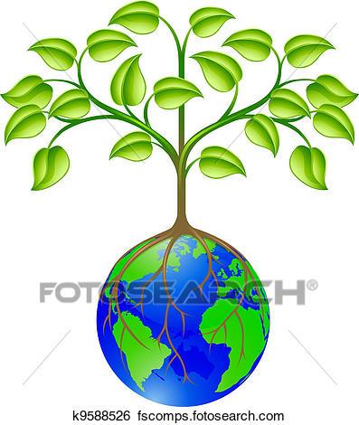 397x470 Clip Art Of World Globe Tree K9588526