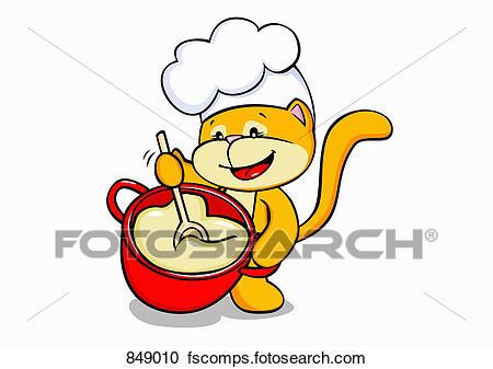 450x337 Clipart Of A Cartoon Cat Cooking 849010