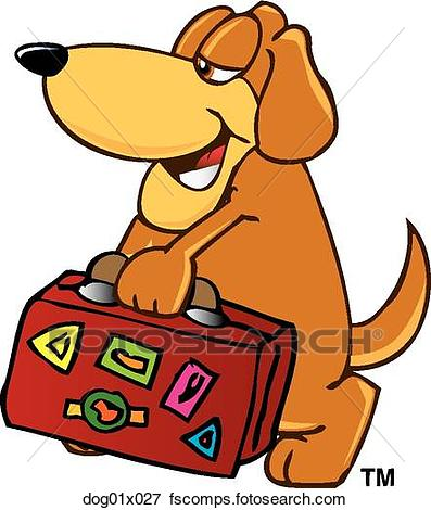397x470 Clip Art Of Dog With Suitcase Dog01x027