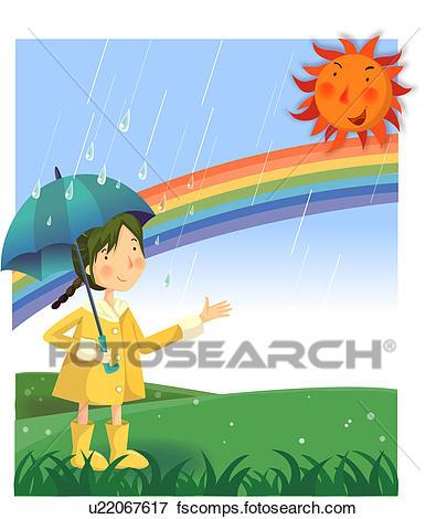 405x470 Stock Illustration Of Raincoat, Umbrella, Sun, Rainbow, Hill