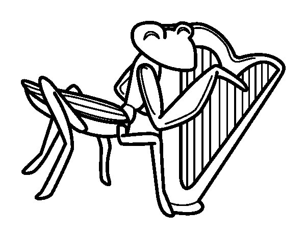 600x470 Grasshopper With Harp Coloring Page