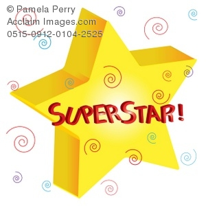 300x300 Clip Art Illustration Of 3d Star With Superstar Text