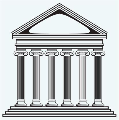 413x416 Greek Building Clipart