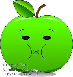 286x300 Clip Art Image Of A Sour Cartoon Green Apple With A Puckered Mouth