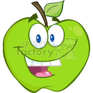 300x300 Royalty Free 5752 Royalty Free Clip Art Smiling Green Apple