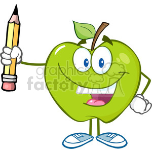 300x300 Royalty Free 5788 Royalty Free Clip Art Happy Green Apple Holding