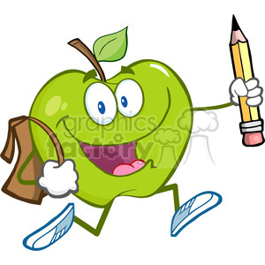 300x300 Royalty Free 5803 Royalty Free Clip Art Happy Green Apple