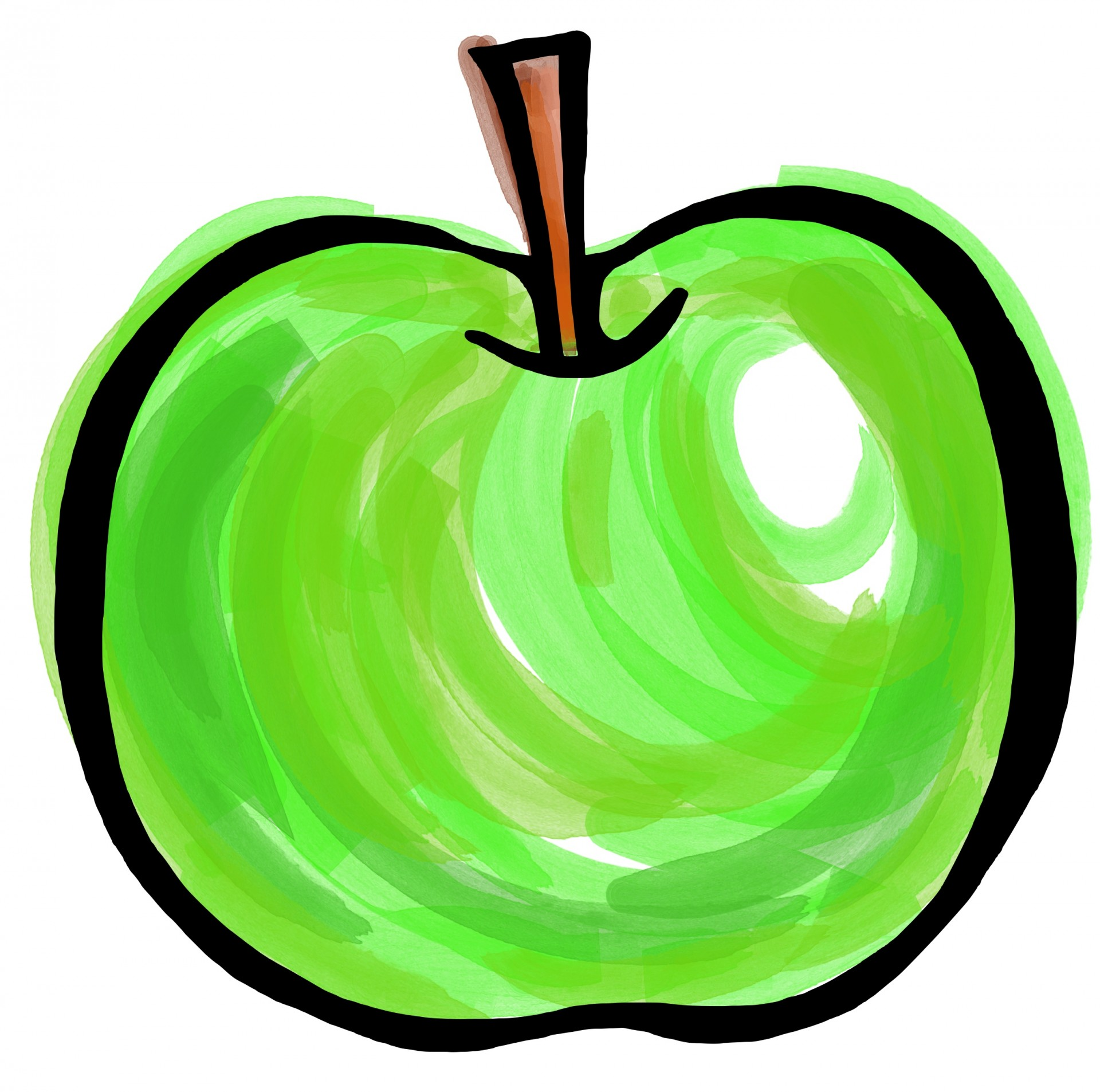 1920x1906 Painting Green Apple Clipart