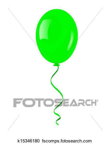 359x470 Clipart Of Single Green Balloon. K15346180