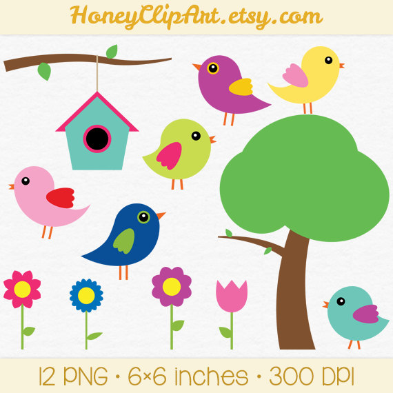 570x570 Digital Bird Clip Art Baby Bird Clipart Spring By Honeyclipart