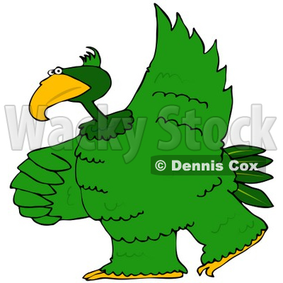 400x400 Free (Rf) Clipart Illustration Of A Large Green Bird Dancing