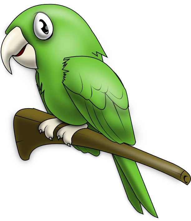613x707 Free Lovely Green Parrot Clip Art