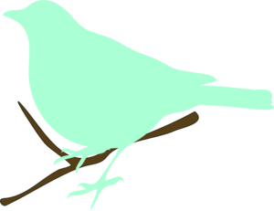 300x231 Green Bird On Twig Clip Art