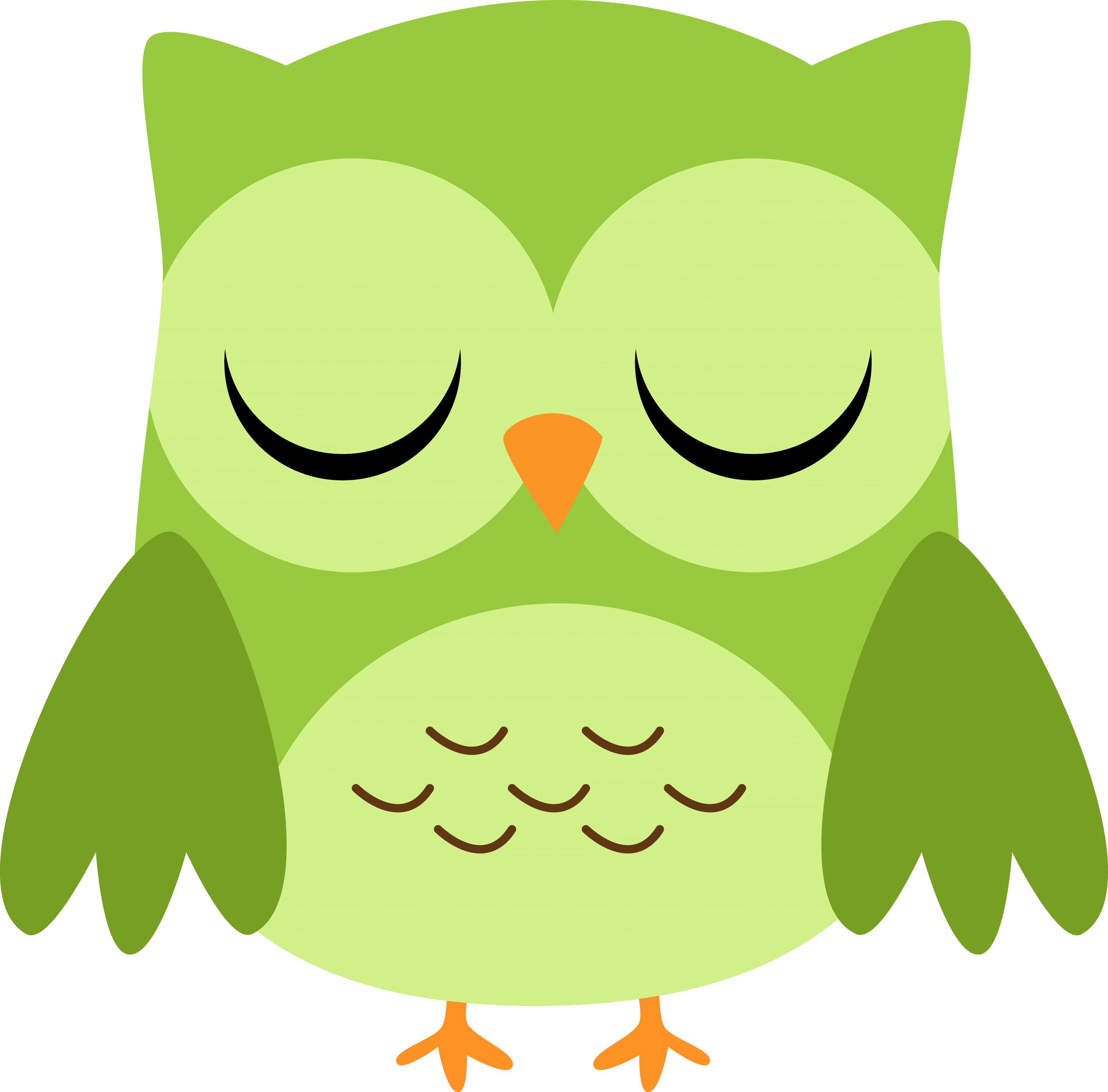 3000x2958 Green Owl Cliparts 217892