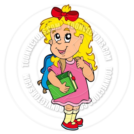 460x460 Cartoon School Girl With Green Book By Clairev Toon Vectors Eps