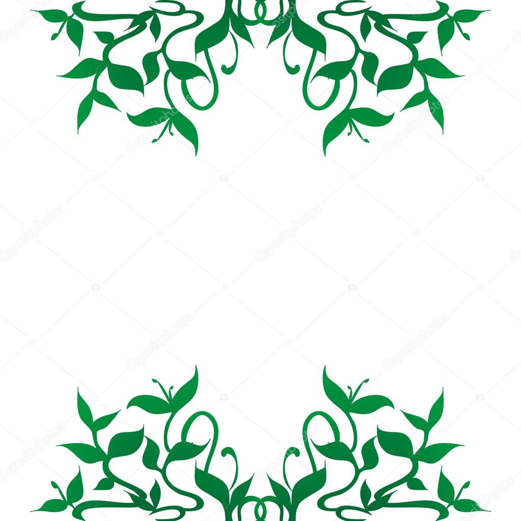 1024x1024 Flourishing Green Plant Decoration For Frame Border Stock Vector