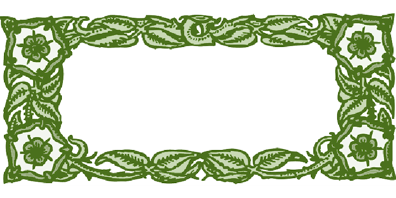 800x400 Green, Frame, Flower, Pink, Floral, Vines, Borders