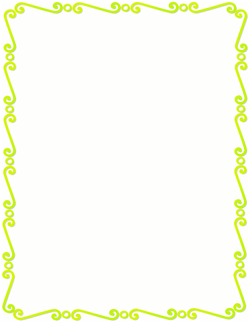 850x1100 Lime Green Frame Clipart