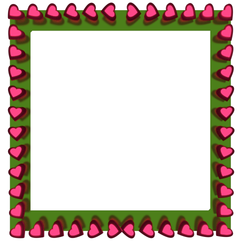 480x480 Pink Love Hearts Reflection On Green Square Border 3d Borders