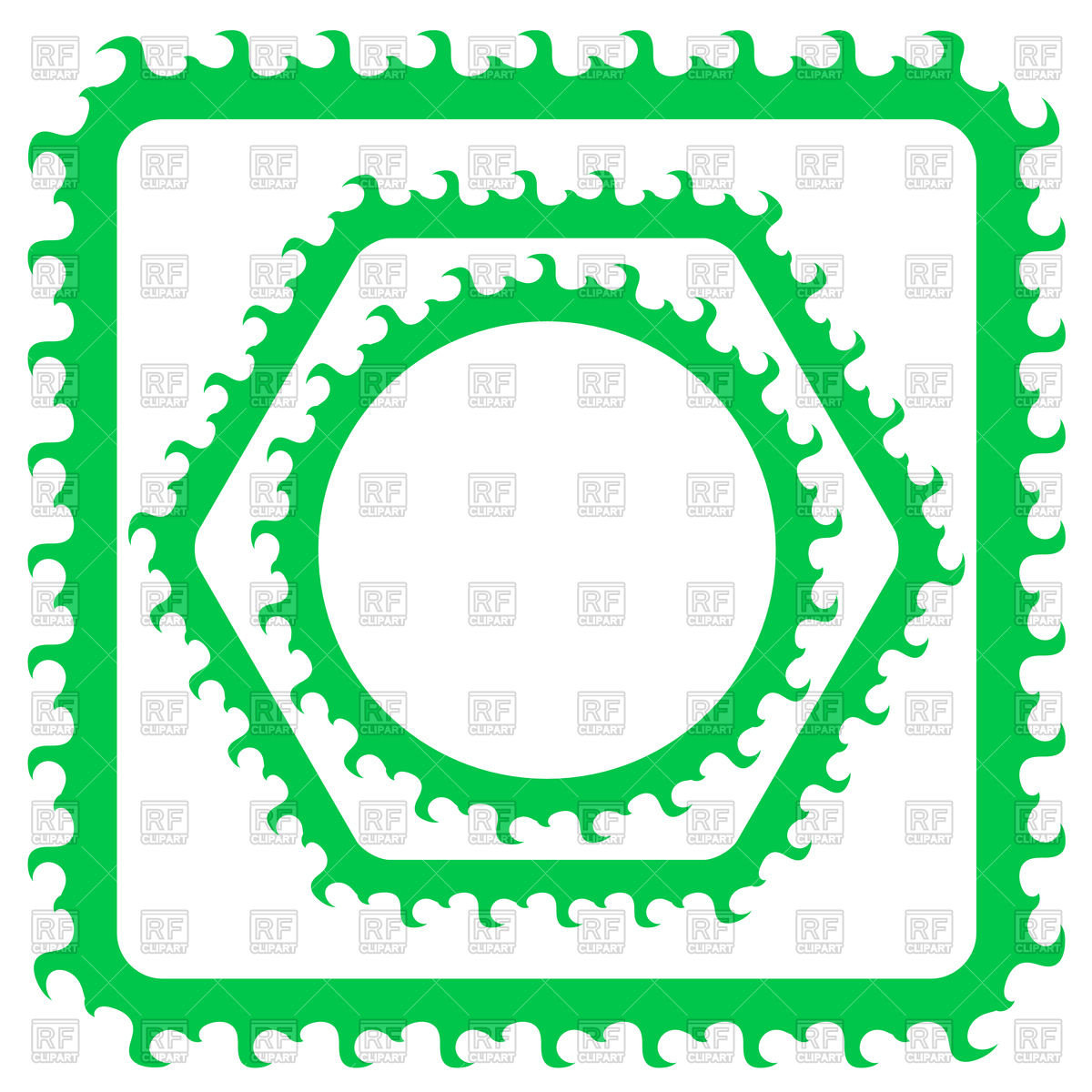 1200x1200 Set Of Green Borders Or Frames Vector Clipart Image