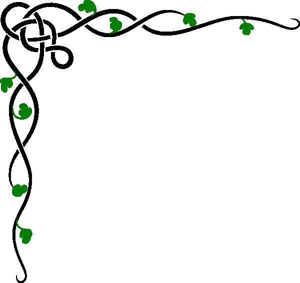600x565 Corner Border Vine Black Amp Green Clip Art